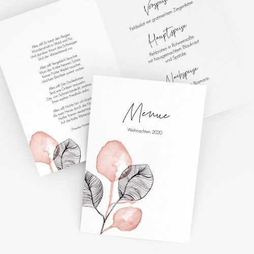 Menükarte in modernem floralem Design