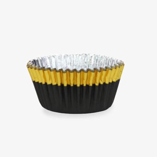 Muffinförmchen Schwarz mit goldenem Rand